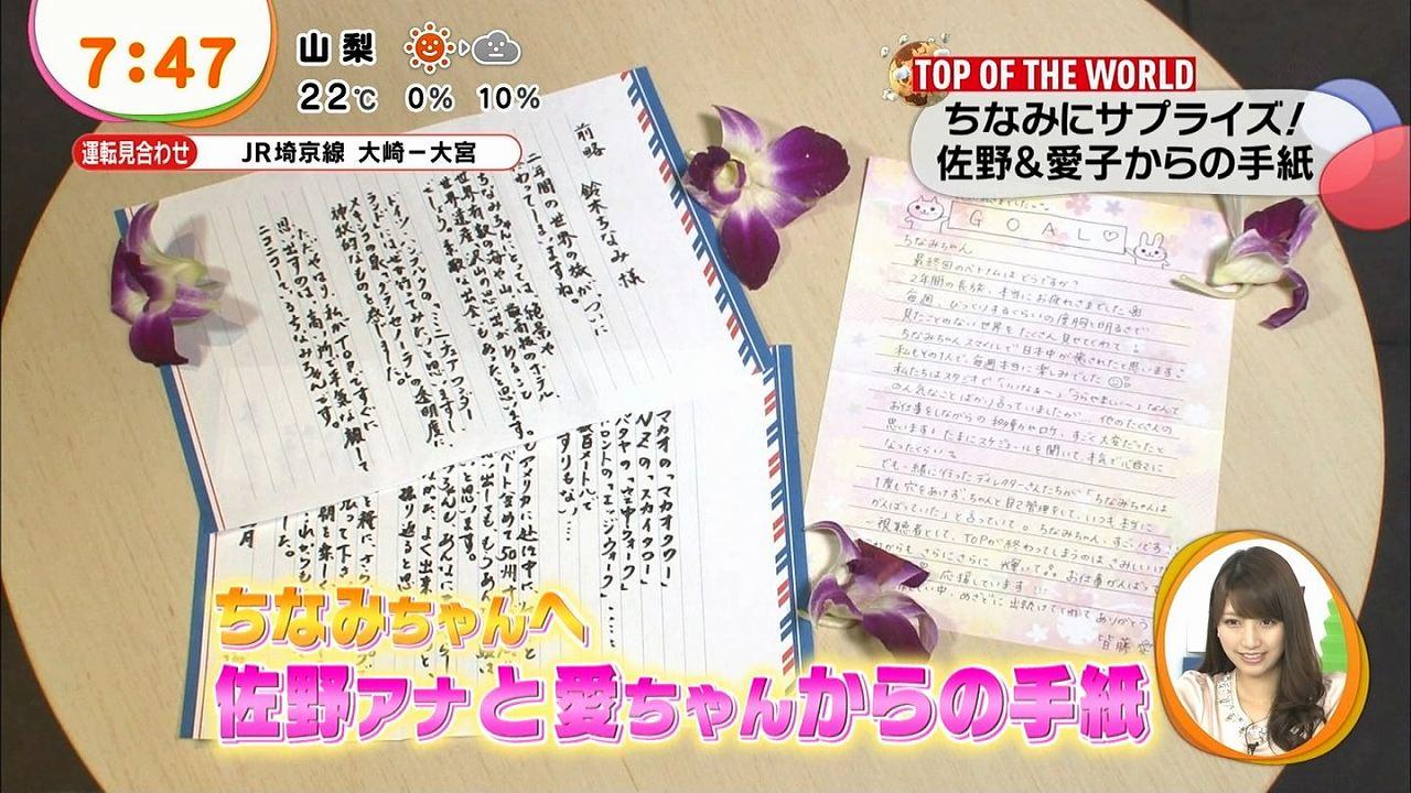 鈴木ちなみに書いたフジの佐野アナと皆藤愛子の直筆の手紙