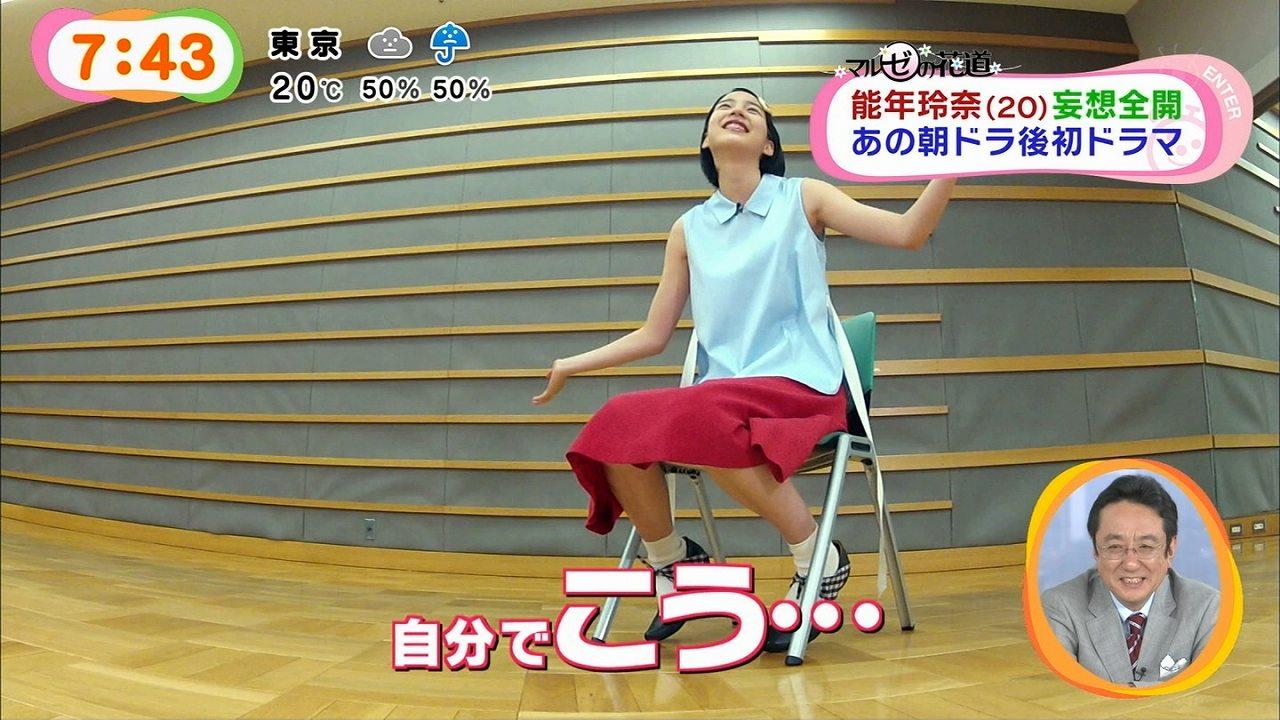 めざましテレビに出演した能年玲奈が足を開き過ぎる