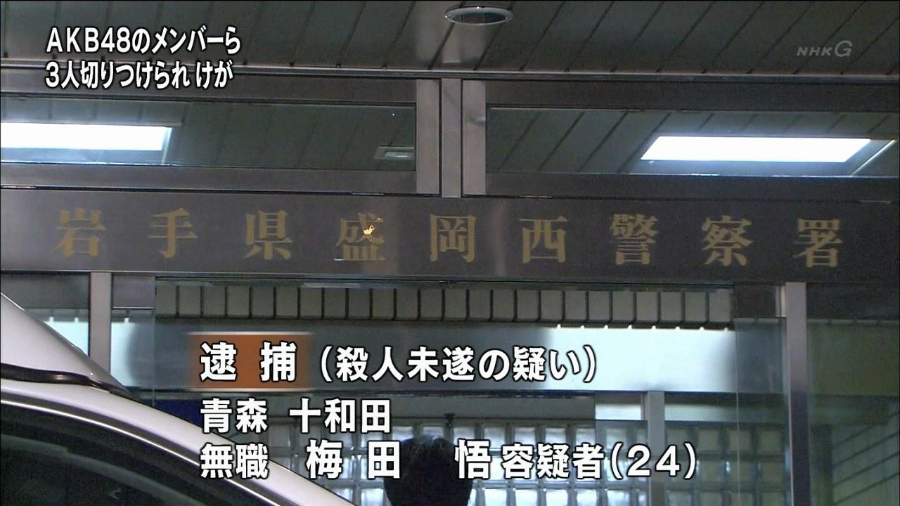 岩手のAKB握手会で川栄李奈と入山杏奈が切りつけ、無職の梅田悟が殺人未遂容疑で逮捕される Mr.サンデーの報道画像