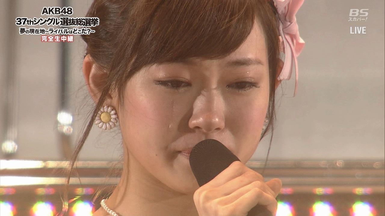 AKB48第6回選抜総選挙でスピーチ中に泣く渡辺美優紀