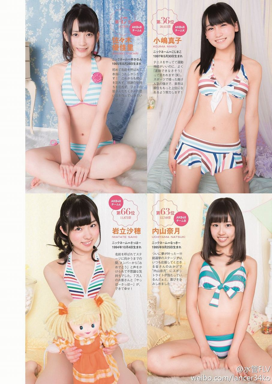AKB48のはじめまして水着の画像 佐々木優佳里、小嶋真子、岩立沙穂、内山奈月の水着姿