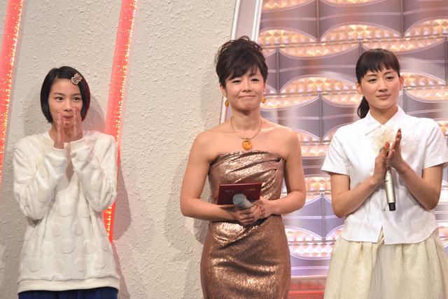 紅白歌合戦での能年玲奈と有働由美子と綾瀬はるか