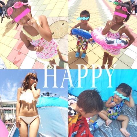 プールに行った辻希美と子供達