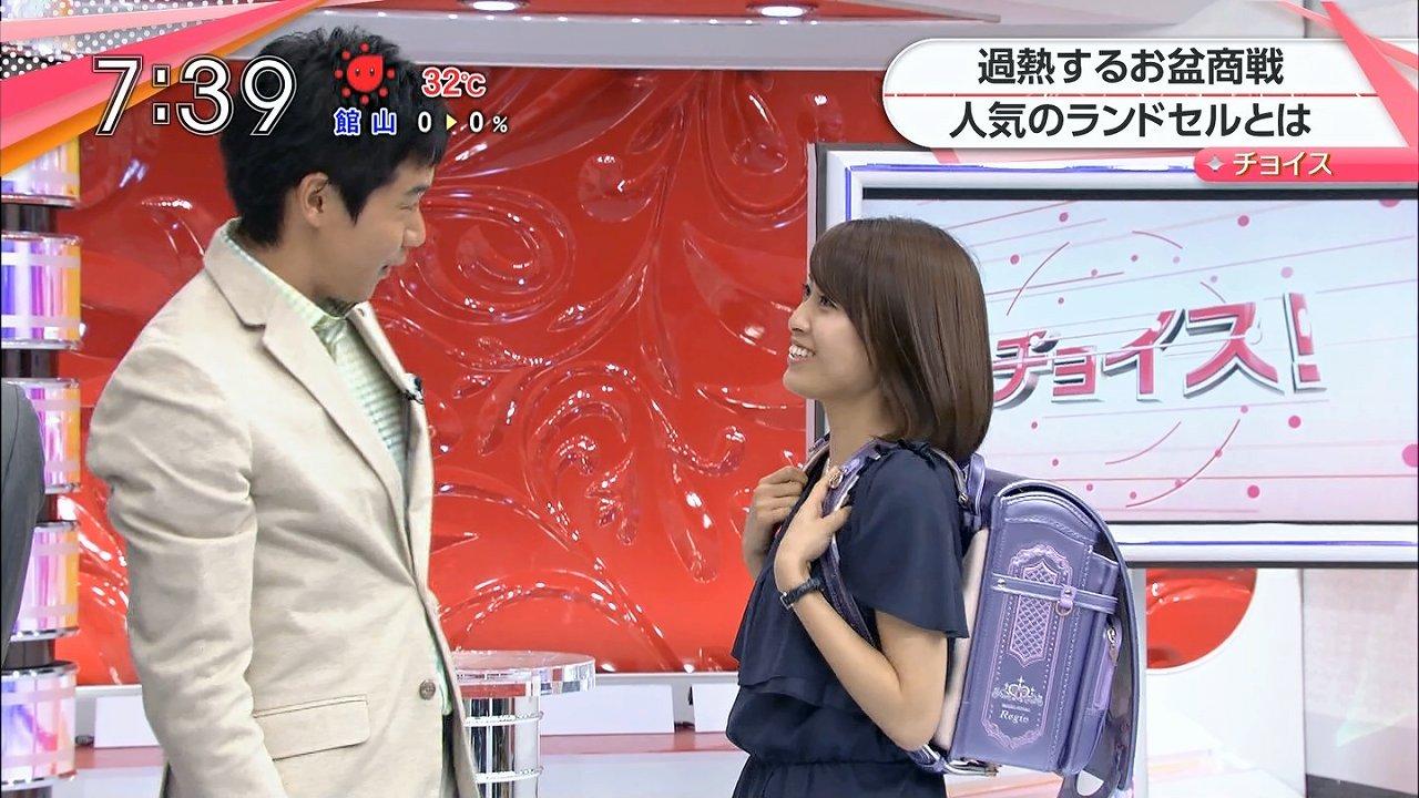 TBS「あさチャン」でランドセルを背負った佐藤渚アナ