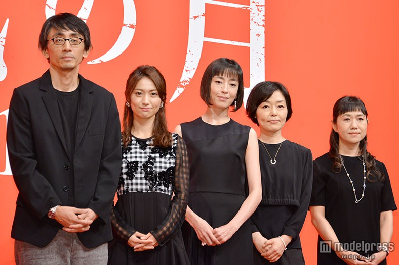 映画『紙の月』完成報告会見の大島優子、宮沢りえ、小林聡美