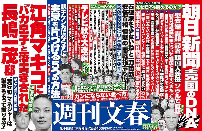 江角マキコが長嶋一茂邸に「バカ息子」と落書き 週刊文春中吊り
