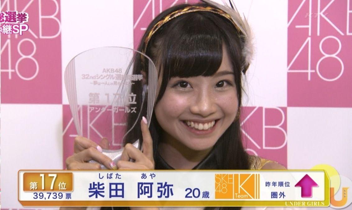 AKB48選抜総選挙で17位になった柴田阿弥