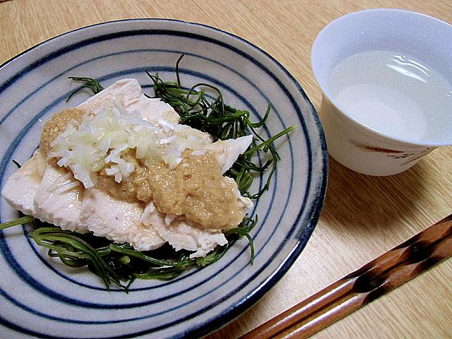 ゆで鶏胡麻酢