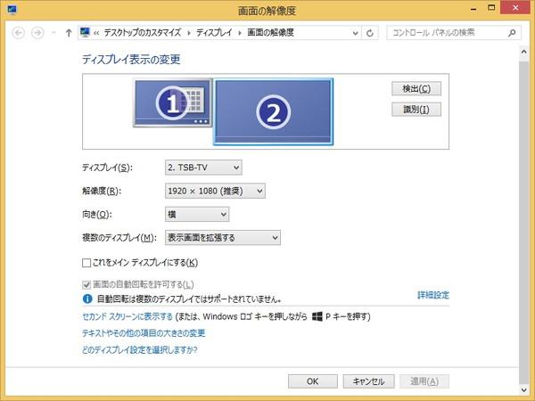 WinPad A1 mini ディスプレイ設定画面