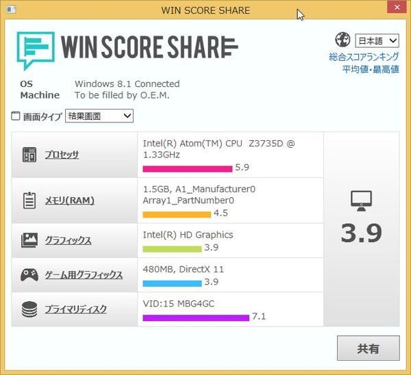 WinPad A1 mini WIN SCORE SHARE