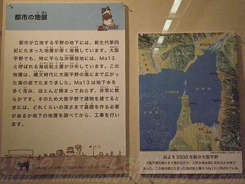 海だった縄文時代のころの大阪のパネル