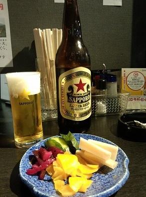 瓶ビール490円つけもり350円