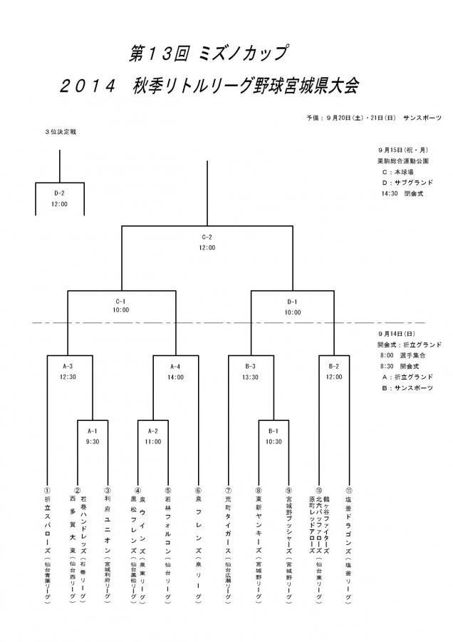 第13回ミズノカップ2014秋季大会_組合わせ_v60001