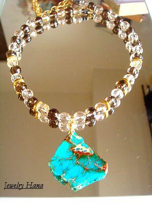 天然石の青い海 ジャスパーペンダント キラキラ輝く高品質天然石のネックレス 大人のきらめきネックレス
