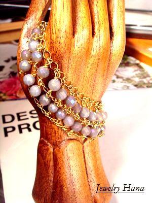 しなやかなキラキラ輝く天然石の2連ブレスレット グレーオニキスのチェーンブレスレット