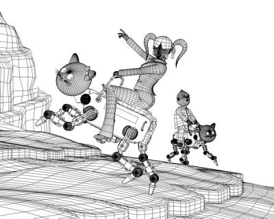 3DキャラOLと猫ロボ(ワイヤーフレーム)