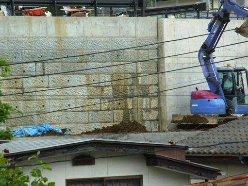 今日の新設ゴールコン擁壁と雨水貯水池