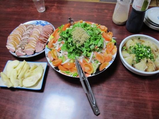 合鴨とかの晩ご飯