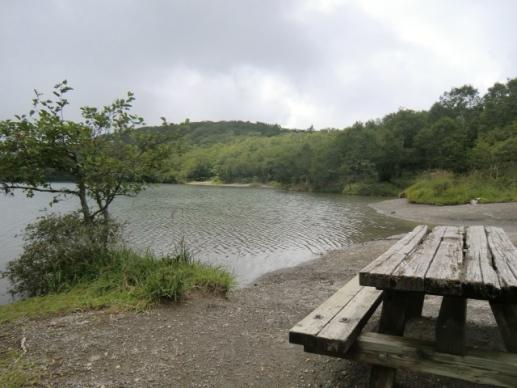 湖畔のベンチで