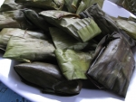 steamed banana and cassava cakes