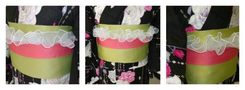 浴衣帯姿:プチ兵児帯で作る前のフリフリ