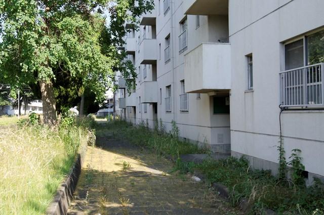 封鎖されていない八王子大和田郵政宿舎住棟入り口