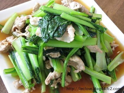 豚肉と小松菜のニンニク甘辛醤油炒め