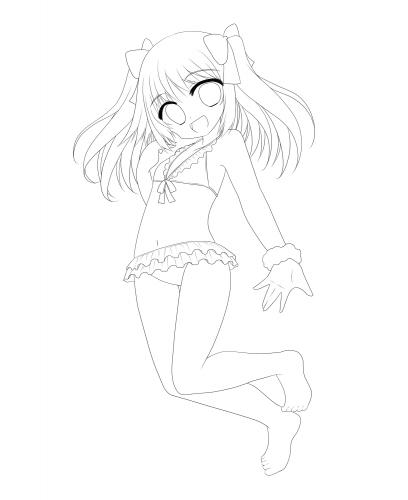 水着の女の子 線画