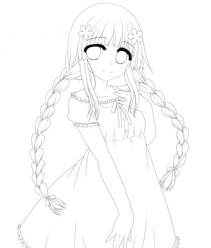 三つ編みの女の子 線画