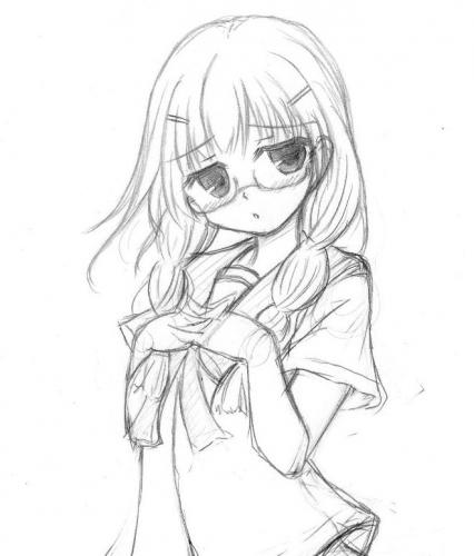 三つ編み眼鏡っ子(下書き)