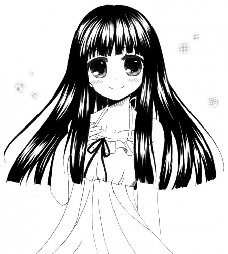 黒髪ロングの女の子 モノクロ