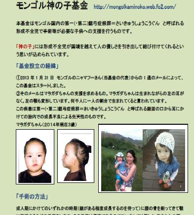 モンゴル神の子基金パンフレット