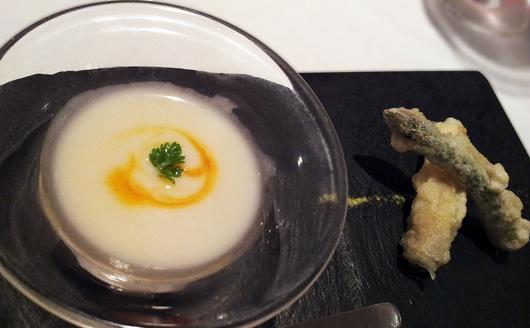 アスパラのスープ&フリット