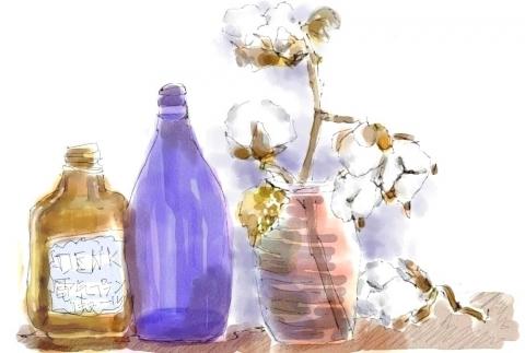 綿の木と小瓶