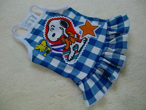 M*mania★ブロックチェックキャミワンピ【Snoopy】