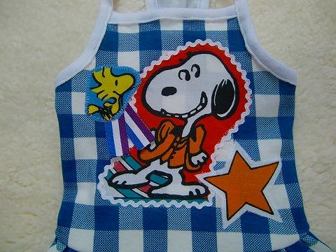 M*mania:ブロックチェックキャミワンピ【Snoopy】*