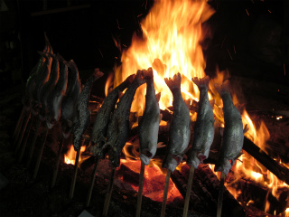 薪と炭火で焼く鱒は、絶品