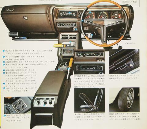 73年11月 ローレルHT 装備