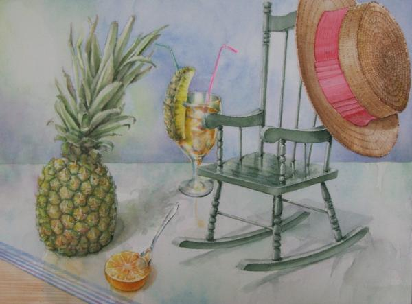 パイナップルと麦わら帽子