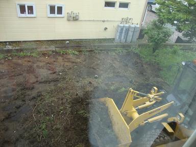 敷地工事庭側