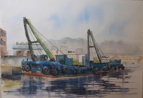 神戸港働くクレー船 三原色で描く