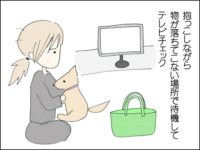 抱っこしながら安全な所でテレビを見ている
