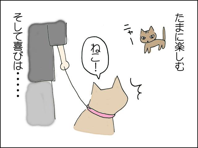 猫を見つけて喜ぶ
