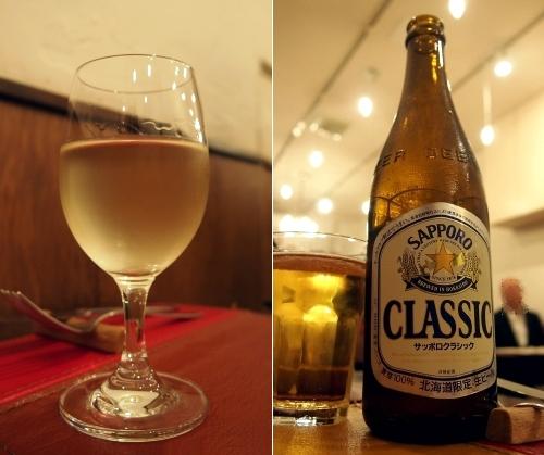 フランス食堂クネル グラスワイン白&サッポロクラシック