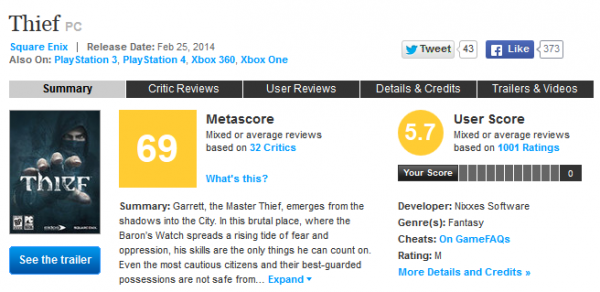 Thief for PC Reviews - Metacritic
