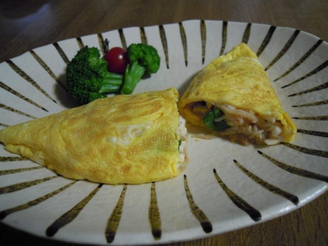 おくらと山芋のオムレツ