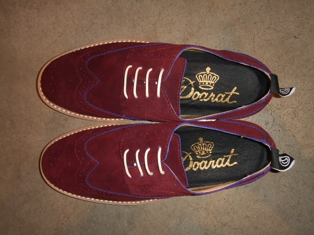 DOARAT SUEDE WING TIPPED SHOES BURGUNDY3