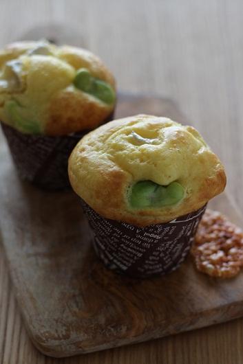 空豆とカマンベールのマフィン