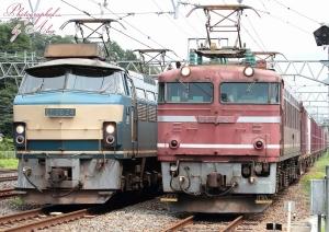 5071レ(=EF66-24牽引)に抜かれる3090レ(=EF81-627牽引)