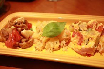前菜3種盛りレンコンチーズ海苔和え北あかり明太子オムレツ